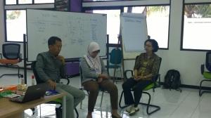 Peserta berlatih dengan pemandu pelatihan, Drs. Asep Abdul Gani, Psikolog